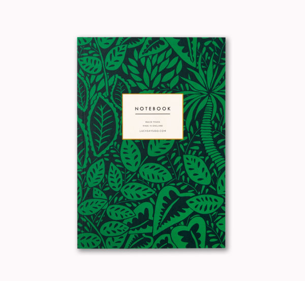 Bright bold A5 notebook dark green tropical botanical pattern design cover 96 ruled pages