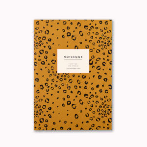 A5 notebook mustard leopard animal print design ruled pages great gift