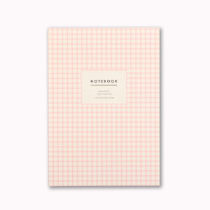 Pretty A5 notebook pink gingham check design cover 96 ruled pages