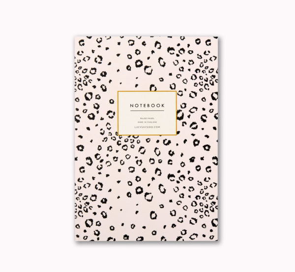 Pretty A5 notebook blush pink leopard print animal pattern design cover 96 ruled pages