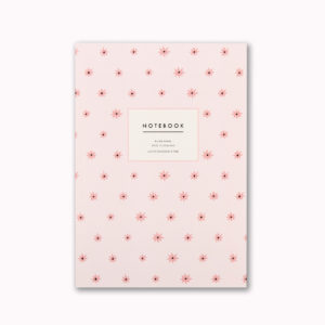 Pretty A5 notebook blush pink star pattern design 96 ruled pages
