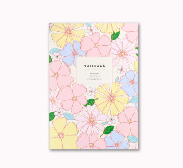 beautiful A5 notebook retro pastel flower design 96 ruled pages