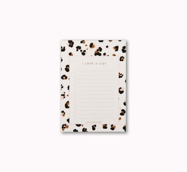 A6 I love a list desk notepad cheetah animal print