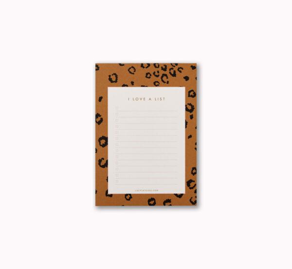 A6 I love a list desk notepad golden mustard leopard print