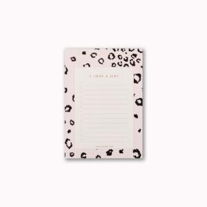 A6 I love a list desk notepad blush pink leopard print