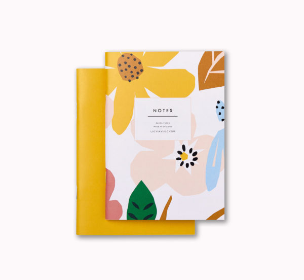 A6 mini softcover pocket notebook set Yellow and graphic bright flower