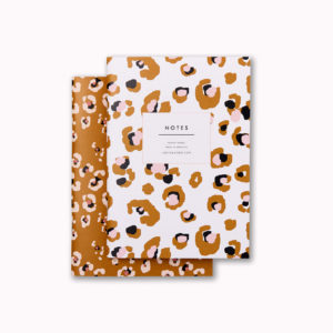 A6 mini softcover notebook set gold and pink leopard print and cream and pink