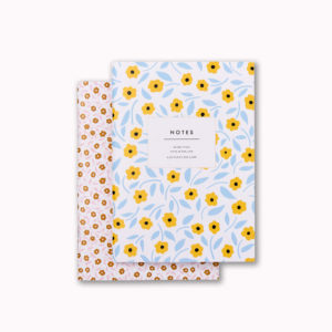 A6 mini softcover notebook set yellow and blue ditsy flower and pink and gold floral
