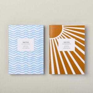 A6 pocket notebook set beach Waves and summer sunshine