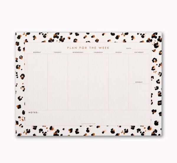 Cheetah print A4 weekly desk planner notepad