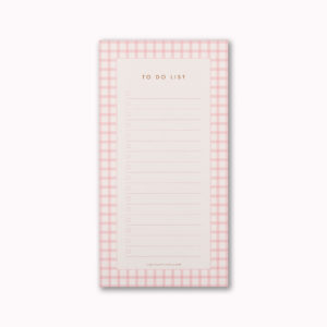 to do list notepad small gift pink gingham check