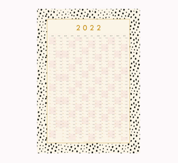 2022 Year planner wall hanging dalmatian spot animal print black and white