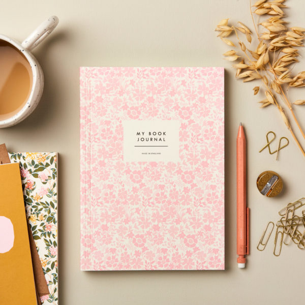 Beautiful Book Journal Reading Diary Pink Flowers Cover design wonderful gift for book lovers