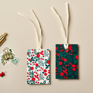 Christmas gift tags festive flowers design festive greens golds and reds