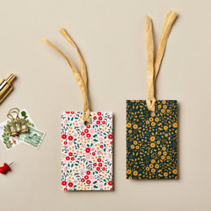 Christmas gift tags little flowers design festive greens golds and reds