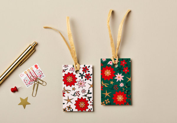 Christmas gift tags retro scandi design festive greens golds and reds