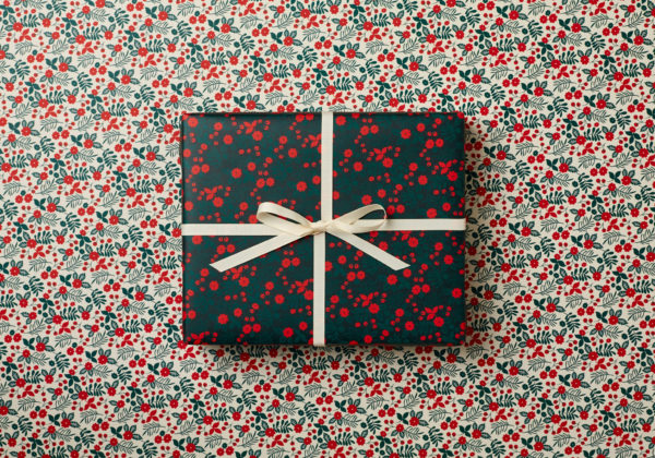 beautiful Christmas Holidays wrapping paper festive flowers design nostaligic dark green red berries double sided wrap sm