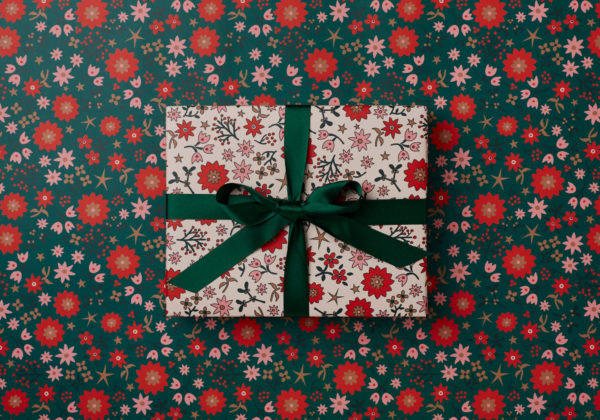 beautiful Christmas Holidays wrapping paper retro scandi design nostaligic festive dark green reds and golds double sided wrap
