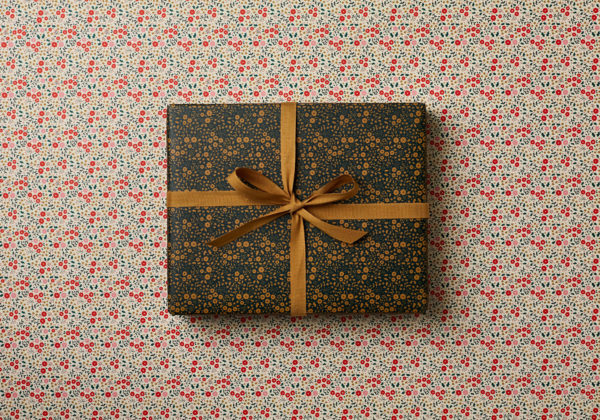 beautiful double sided Christmas festive wrapping paper little flowers design nostaligia dark green reds and golds double sided wrap cottage core sm