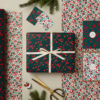 wrapping paper gift wrap set festive flowers design double sided gift wrap with gift tags and Christmas cards sm